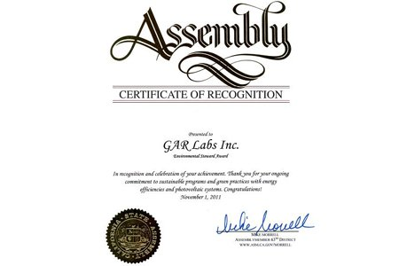 GAR Labs Solar State Assembly Certificate of Recognition