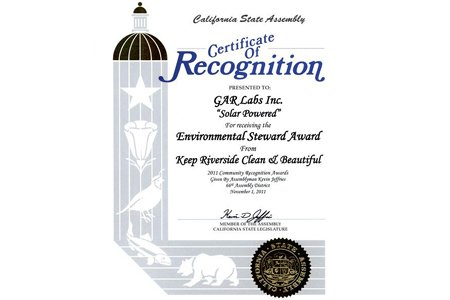 GAR Laboratories California Solar Certificate of Recognition